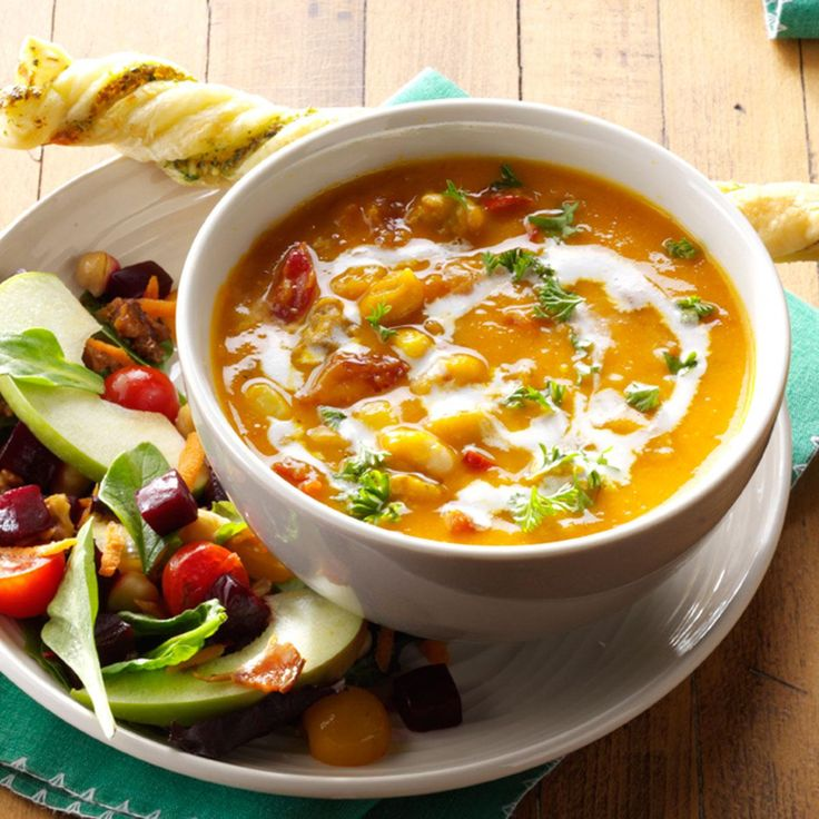 Hearty Butternut Squash Soup Recipe -The comforting combination of squash, meat, beans and veggies makes this my go-to soup in fall. It's full of freshness. —Jaye Beeler, Grand Rapids, Michigan