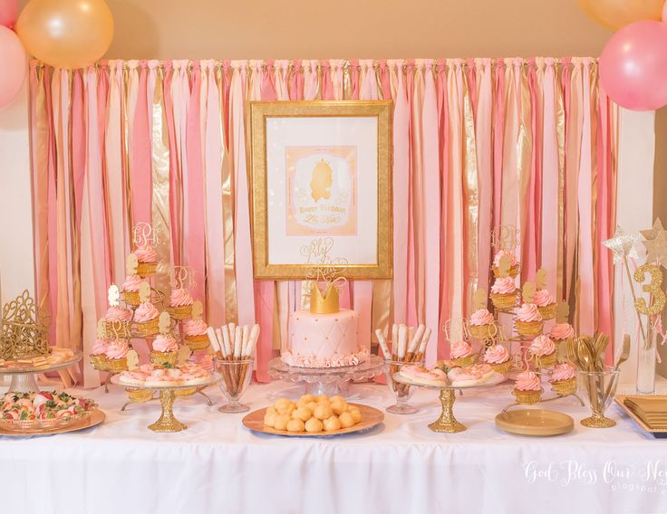 "Princess / Birthday ""Lily Kate's Pink and Gold Princess Party"" 