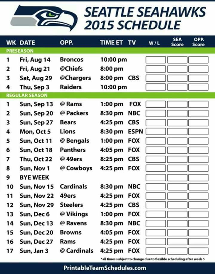 2015 Seattle Seahawks Schedule