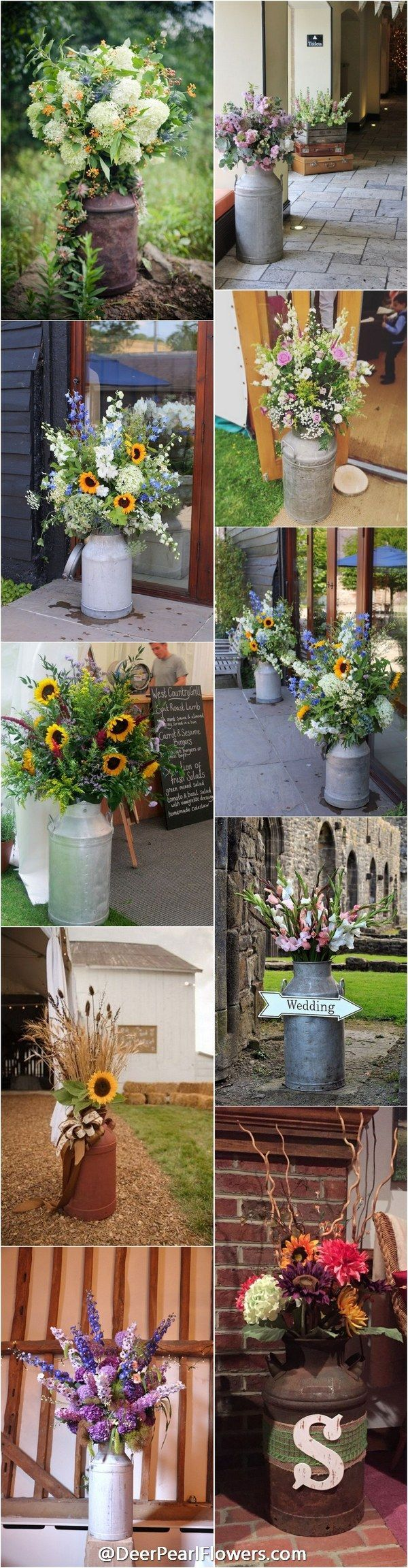 rustic country milk churn wedding decor ideas / http://www.deerpearlflowers.com/rustic-country-milk-jug-wedding-ideas/