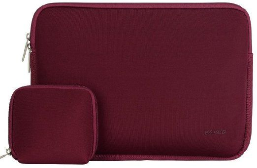 Mosiso Laptop Sleeve, Water Repellent Neoprene Case Bag for 13-13.3 Inchs MacBook Air / MacBook Pro with Small Case for MacBook Charger, Wine Red