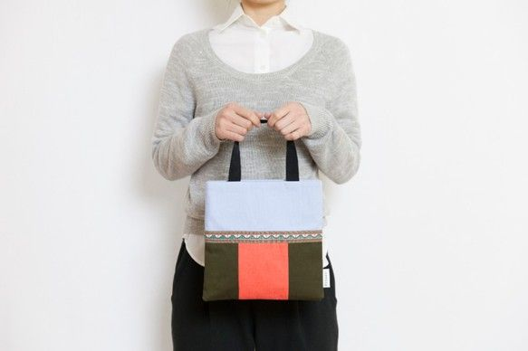 スクエアハンドバッグ  light blue +khaki+ orange(brown dot)