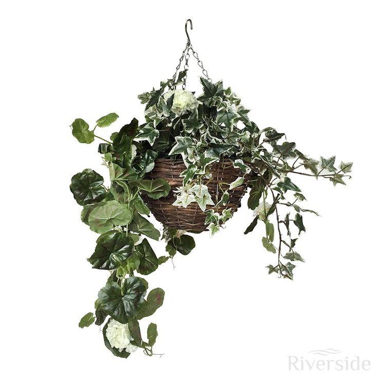Artificial Hanging Basket - Small Geranium, Cream