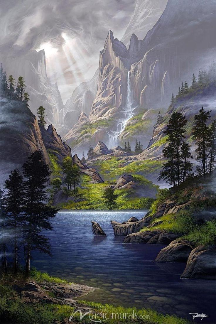 Landscape art - Our Secret Paradise (avec images)   Peinture paysage, Paysage fantastique, Photo ...