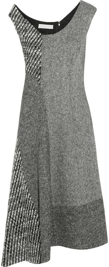 Stella McCartney Stella Mccartney Jackie Asymmetric Paneled Wool-Tweed Dress