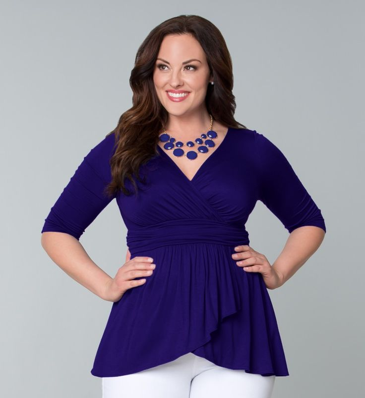 Haven Faux Wrap Top - Kiyonna - soft but ample coverage.