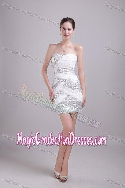 Cheap Mini-length White Graduation Dress with Paillette in Cullman AL