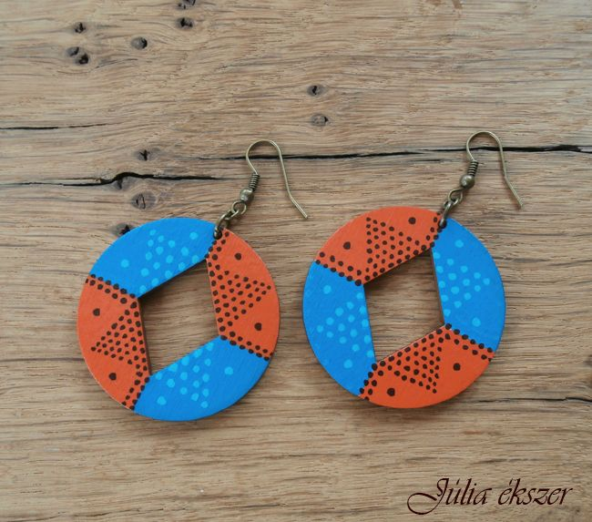 handpainted wooden earrings