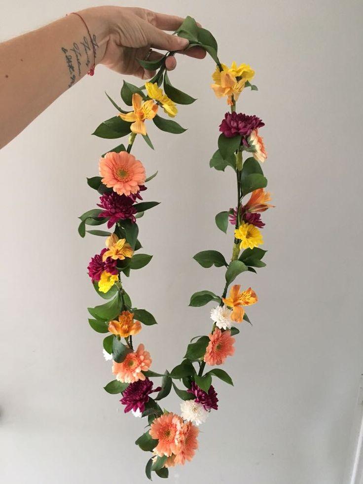 CBL157 wedding Riviera Maya colorful flowers neckless/ collar con flores naranja amarillo y rojo