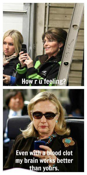 Funniest Hillary Clinton Memes: Hillary Clinton Text to Sarah Palin