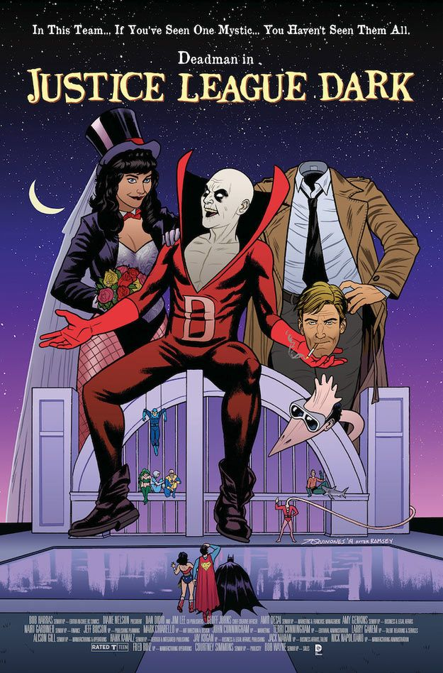 "comicbookwomen: ""  JUSTICE LEAGUE DARK #40 inspired by BEETLEJUICE, with cover art by Joe Quinones * """