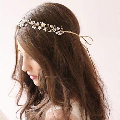Women Handmade Pearl/Rhinestone Resin Alloy Flower Headbands With Wedding/Party Headpiece – USD $ 27.99