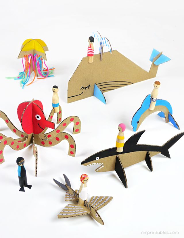summer-peg-dolls-with-cardboard-sea-creatures kireei