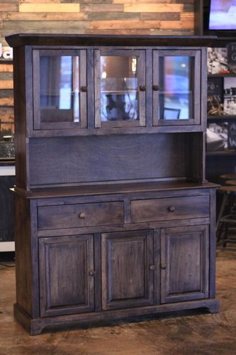 "Matches our farmhouse table - Buffet and Hutch in Dark Walnut Stain. 54"" wide, 18"" deep, 75.5"" tall"