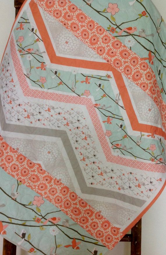 Baby Quilt, Girl, Woodland, Cottage, Coral, Mint, Birds, Branches, Chevron, Baby Blanket, Crib Bedding, Nursery Quilt, Children