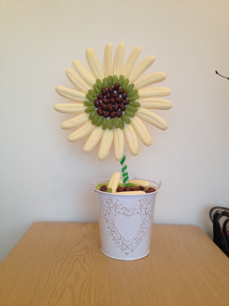 Banana & Jelly Bean Flower with either Chocolate Peanuts or Raisins