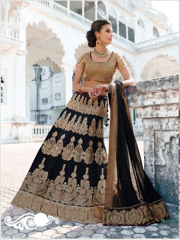 Black Wedding Silk Women Lehenga