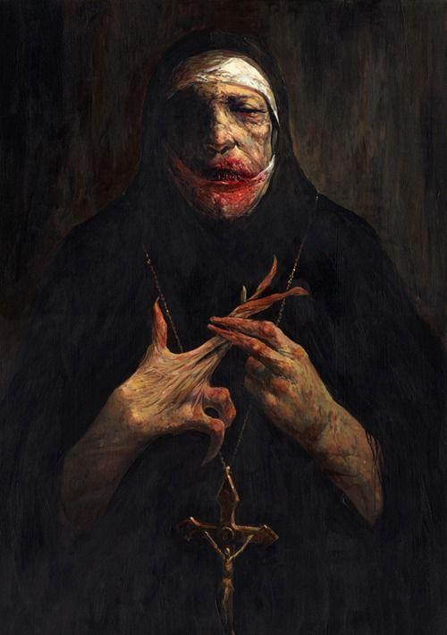 horror art - this looks like Howard Hesseman from WKRP in Cincinnati. but spooky.