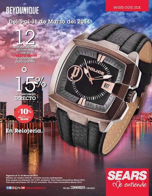 Sears: Descuento del 15% en relojería Sears cuenta con una muy buena oferta y promoción en relojería, pues esta ofreciendo hasta 12 mensualidades sin intereses ó 15% de descuento directo(Más 10% de descuento adicional pagando con tu crédito revolvente Sears). *Para los meses sin intereses la com... -> http://www.cuponofertas.com.mx/oferta/sears-descuento-del-15-en-relojeria/