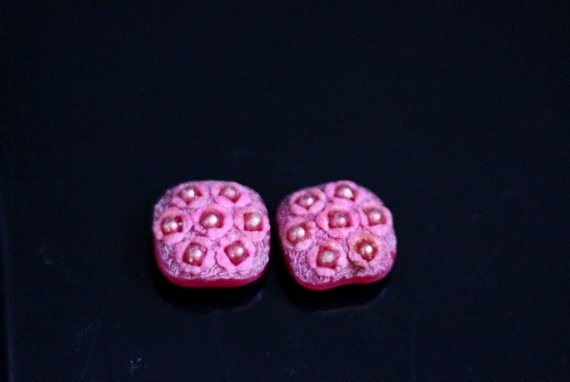Pink Vintage Flower Resin Buttons Stud Earrings by Bijouxhouse, $30.00