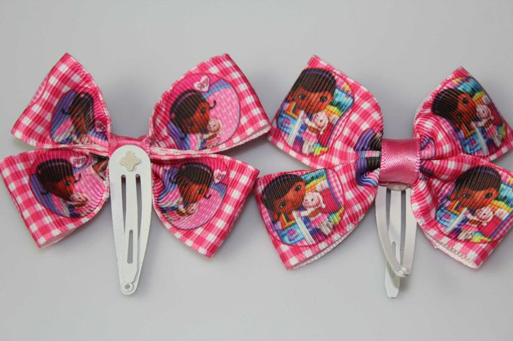 Pink gingham Doc McStuffins hair clips girls set of two mc4