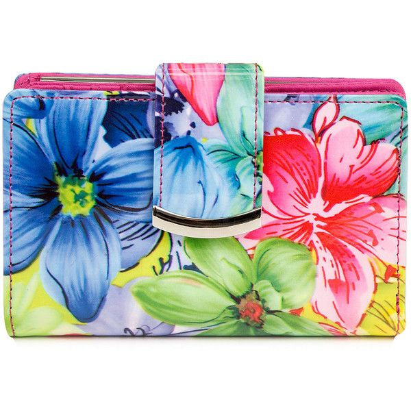 Mundi S&P Indexer Big Bloom Floral Print Wallet ($25) ❤ liked on Polyvore featuring bags, wallets, mundi wallet, floral print wallet, snap wallet, snap coin purse and flip wallet