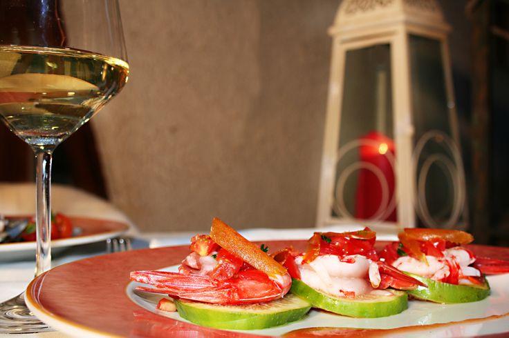 Gamberoni e fichi del Cilento glassati con aceto balsamico
