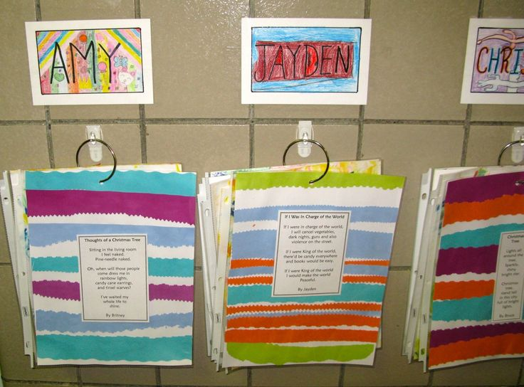 An interactive bulletin board with hooks. Displaying student work in a portfolio format