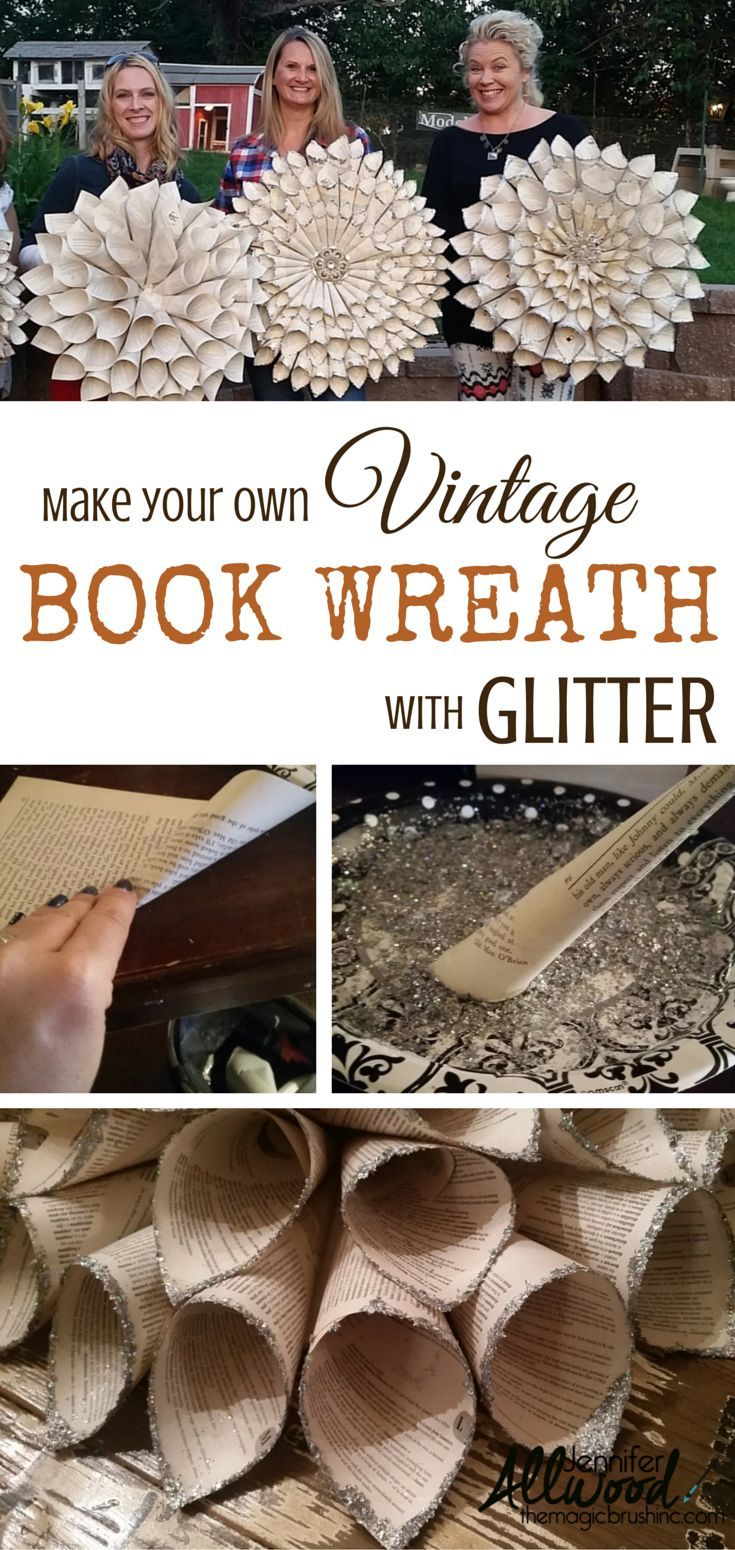 Plan a Crafting Party with this great idea of making vintage glittered book wreaths! Easy to do. Find a thrift store book now! From theMagicBrushinc.com