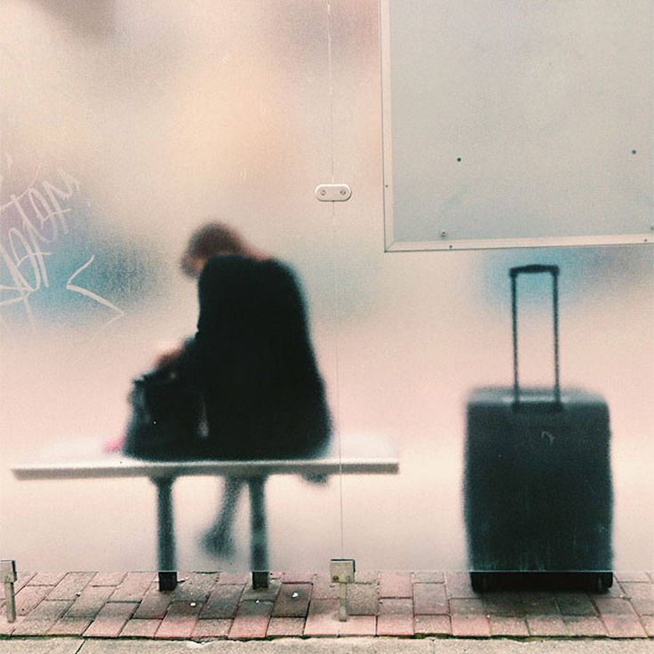 People at Bus Stop Photography