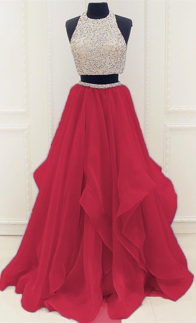 Stunning Sequins Beaded Top Organza Ruffles Two Piece Prom Dress 2017, Floor Length Prom Dress,Beading Homecoming Dress,Homecoming Dress Long,2 Pieces Prom Dress
