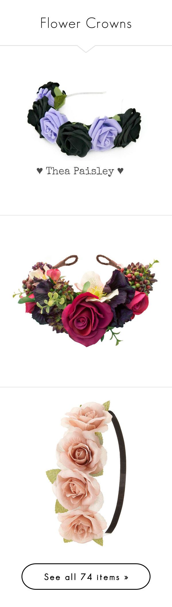 """Flower Crowns"" by gymholic ❤ liked on Polyvore featuring accessories, hair accessories, flower crowns, pastel goth, black, rose flower crown, silver garland, flower crown, silver hair accessories и rose headband"