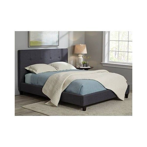 corona midcentury graphite fabric upholstered queen bed 495 bam liked on