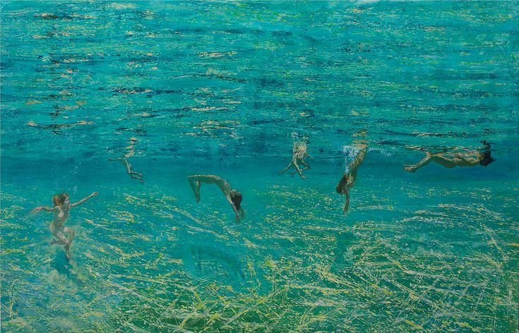 Maria Filopoulou,Underwater swimmers II, 2011-2012.Oil on canvas,112 x 200cm.