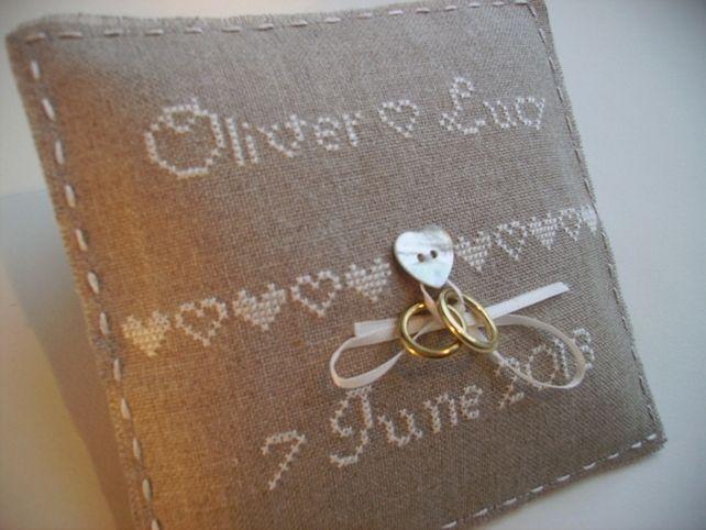 Personalised wedding ring cushion