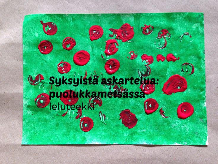 Syksyistä askartelua: puolukkametsä   http://blogi.leluteekki.fi #syksy #askartelu #syysaskartelu #lapsille
