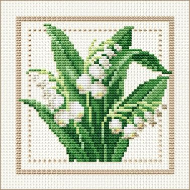 Project 2010 - Flower of the Month Motif 05 for May: Lily of the Valley by Ellen Maurer-Stoh free pattern on Ellen Maurer-Stoh at http://www.maurer-stroh.com/EMS2010_May_05.html