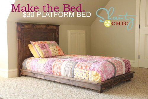 build a bed: Twin Platform, Diy Furniture, Twin Beds, Platform Beds, Diy 30, Beds Frames, Diy Projects, Pottery Barns, Kids Rooms