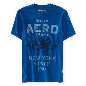 T-shirt col rond bleu Aérospostale