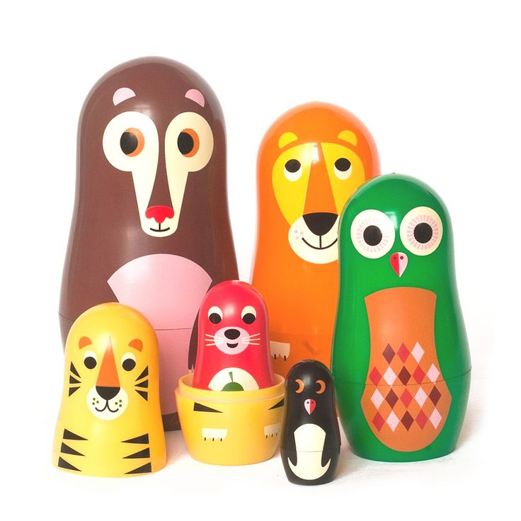 Designed by Swedish illustrator Ingela P Arrhenius for OMM Design, this charming set of six nesting animals are made for art, design, and toy lovers. Display, collect, enjoy and play with them all. The nesting doll set contains 6 animals that fits into one another...