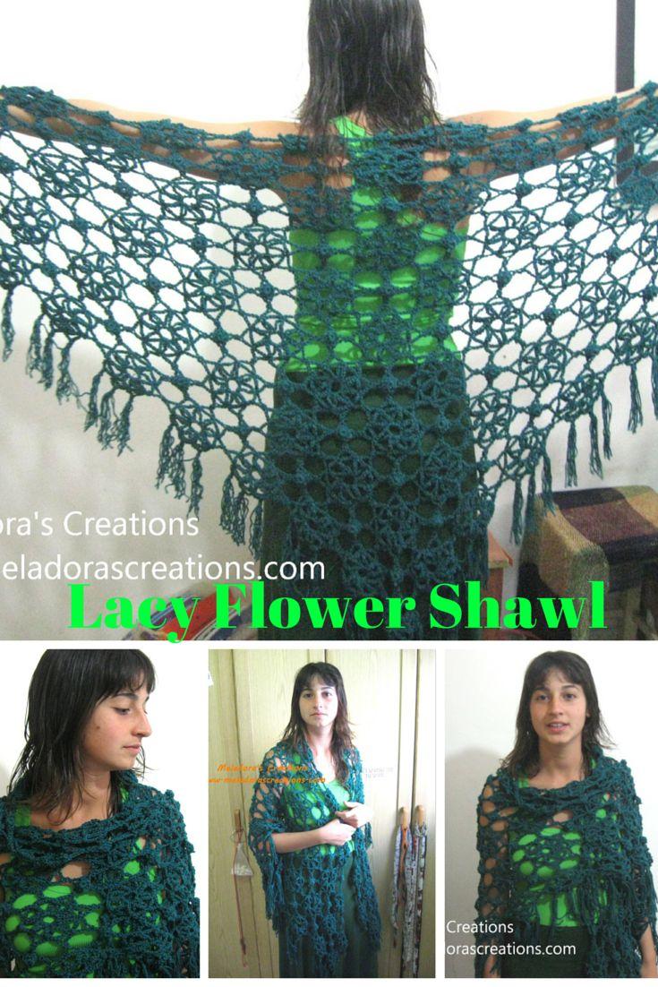 Lacy Flower Shawl – Free Crochet Pattern & Video tutorial by Meladora's Creations