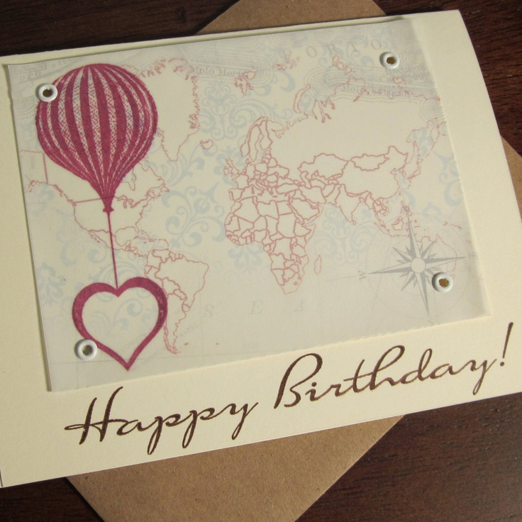 Balloon and Heart with MapBirthday Parties, Birthday Cards