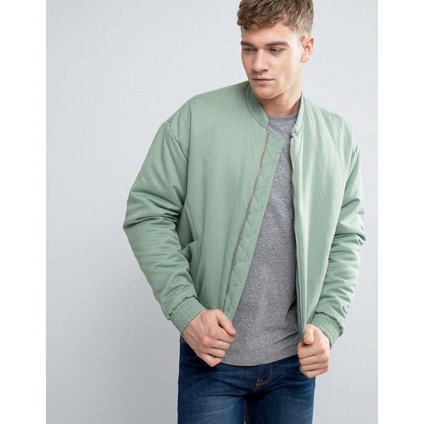 ASOS Padded Bomber Jacket in Mint Green ($52) ❤ liked on Polyvore featuring men's fashion, men's clothing, men's outerwear, men's jackets, green, mens green bomber jacket, mens padded bomber jacket, tall mens jackets, mens fitted jacket and mens padded jacket