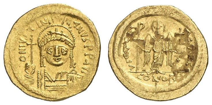 JUSTINIANUS I., 527-565, Solidus, 542-565, Ravenna, Aversum: D N IVSTINI-ANVS PP AUC, draped cuirassed bust in the adorned Federbuschhelm en face, orb with the right holding, reverse: VICTORI-A AVCCC?, Engel en face standing, Staurogrammstab with the right and orb in the left holding, right afield star, in section CONOB, Sear 139 ff., slight Beläge in the Rv., 4. 43 g, good very fine    Dealer  Auction house Ulrich Felzmann    Auction  Minimum Bid:  250.00EUR