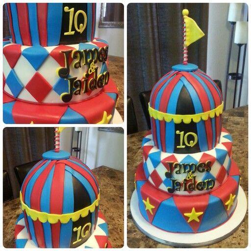 Circus theme, fondant birthday cake