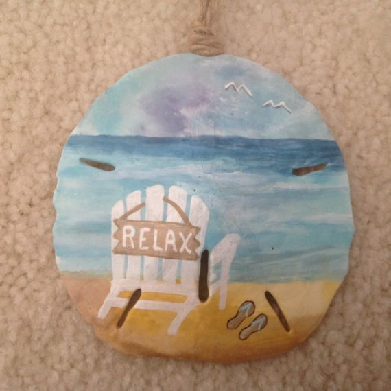 Relax and Stay A While, Hand Painted Sand Dollar, Beach Ornament, Coastal Decor