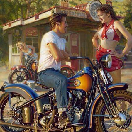 David Uhl Quot Bikini Bike Wash Quot Harley Davidson Art