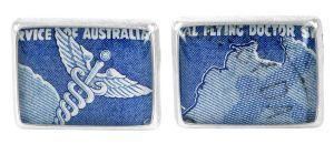 Flying Doctors 1958 silver plate and re-purposed stamp cufflinks