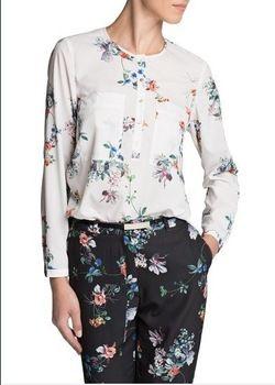 New Fashion Ladies' Flower Pattern Print Elegant Blouses O-neck Long Sleeve Pockets Shirt Casual Brand Designer Retro Women Tops