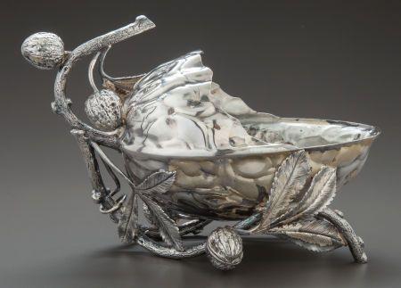 Silver Holloware, American:Bowls, A MERIDEN SILVER-PLATED FIGURAL NUT DISH . Meriden Silver PlateCo., Meriden, Connecticut, circa 1875. Marks: MERIDENSILV...